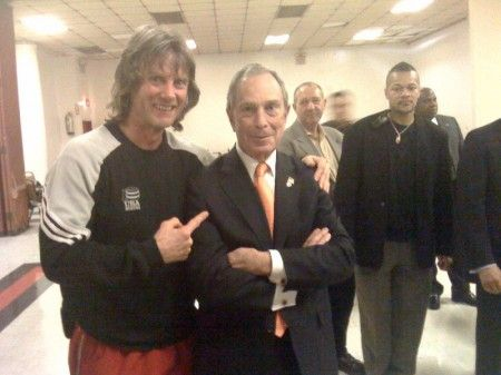Boxing trainer Michael Kozlowski meets with the mayor of New York City Michael Bloomberg.
