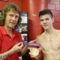 2012 Olympic Champion, Luke Campbell(England), has brought to show the Gold medal of the Olympic Champion to his American trainer, Michael 'Coach Mike' Kozlowski.
