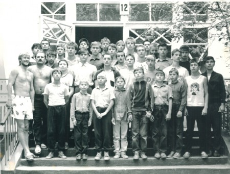 Boxing coaches Michael Kozlowski, Gennadiy Kurgin (first row from the left) and theirs boxers in summer boxing camp.
