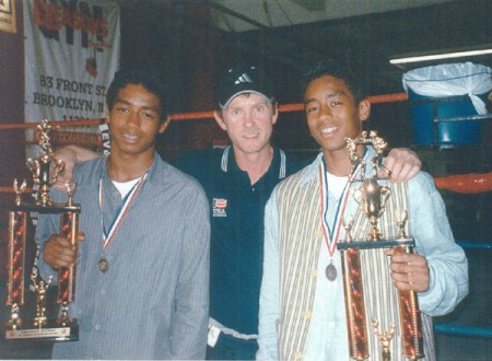 "Boxing trainer Michael ""Coach Mike"" Kozlowski with his 2005 Panamanian Champions Daniel Castillo(Left) and Gabriel Castillo."