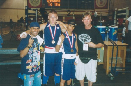 "From left- Robert Pagan, Sasha Mamoshuk, Shemuel Pagan, and Boxing trainer Michael ""Coach Mike"" Kozlowski"