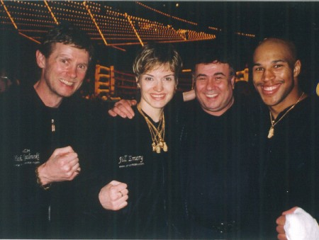 "Madison Square Garden. Daily News Golden Gloves 2003. Boxing trainer Michael ""Coach Mike"" Kozlowski, four time Golden Gloves Champion Jill Emery, sponsor - owner Le Monti Plaza Gary Zlotnyk and Golden Gloves Champion Damien Rapley."