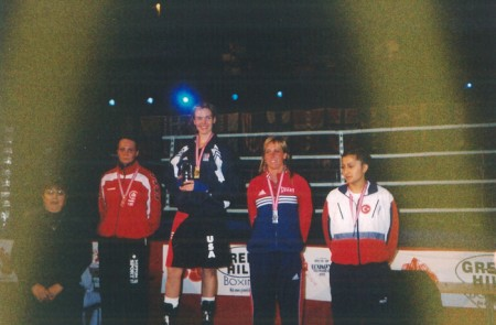 "First Place Jill Emery in Norway and her Trophy for ""Outstanding Female Boxer of the North America continent"" !!!"
