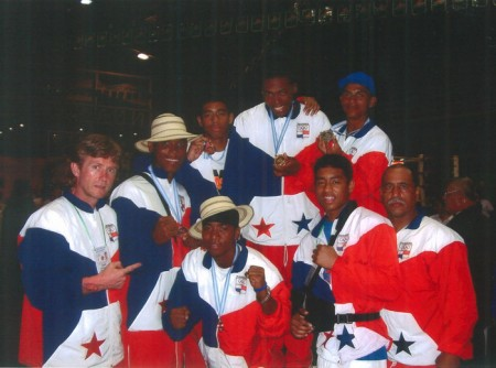 "Boxing trainer Michael ""Coach Mike"" Kozlowski with the Panamanian Boxing Team in Nicaragua."