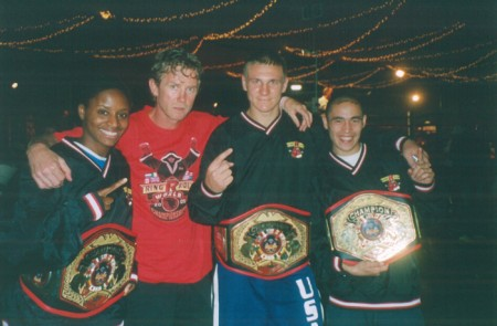 "From the left: 2005 RINGSIDE Champions Raven Roytblat, Boxing trainer Michael ""Coach Mike"" Kozlowski, Sasha Mamoshuk and Khabir Suleymanov ."