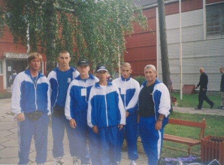 "Boxing trainer Michael ""Coach Mike"" Kozlowski and Roman Greenberg (Next to his coach) with the Israeli boxing team in Yurmala."
