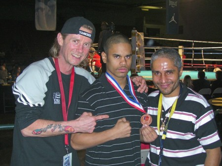 "Left to right: Boxing trainer Michael ""Coach Mike"" Kozlowski , Shemuel Pagan and Robert Pagan"