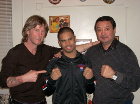 "Left to right: boxing trainer Michael ""Coach Mike"" Kozlowski , Shemuel Pagan, Serik Konakbaev"