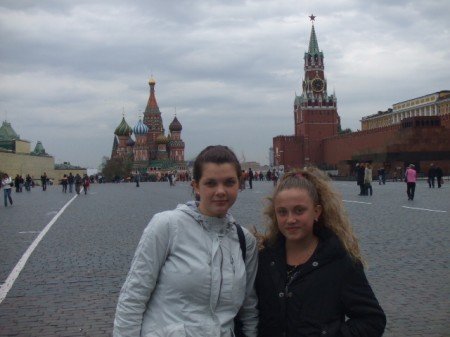 My two daughters, one Russian and one American, in Red Square