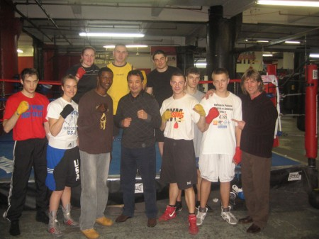 "Mark Breland and Serik Konakbaev with boxing trainer Michael ""Coach Mike"" Kozlowski students"
