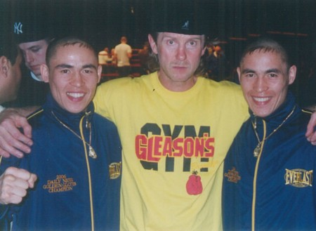 "Michael Kozlowski and his 2006 New York ""Golden Gloves"" CHAMPIONS Khabir Suleymanov (left) and Sabir Suleymaov"