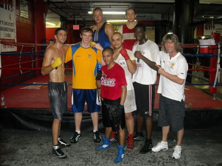 "Egor Plevako with boxing trainer Michael ""Coach Mike"" Kozlowski's students after his last workout in Gleason's GYM"