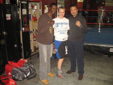 Three time USA Female Champion, Jill Emery with Mark Breland & Serik Konakbaev
