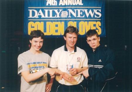 "Michael Kozlowski and his 2001 New York ""Golden Gloves"" CHAMPIONS Jill Emery and Yuri Foreman"