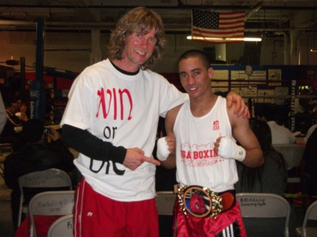 "Boxing trainer Michael ""Coach Mike"" Kozlowski and New York Champion Juan Roman"