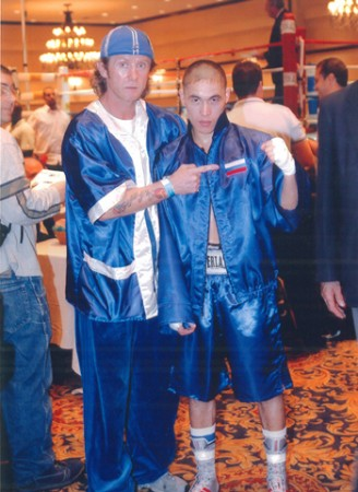 "Boxing trainer Michael ""Coach Mike"" Kozlowski with his student Khabir Suleymanov."