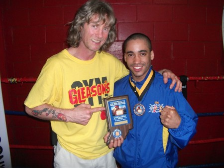 "Boxing trainer Michael ""Coach Mike"" Kozlowski and his student Juan Roman - BRONZE medalist 2011 USA National GOLDEN GLOVES"