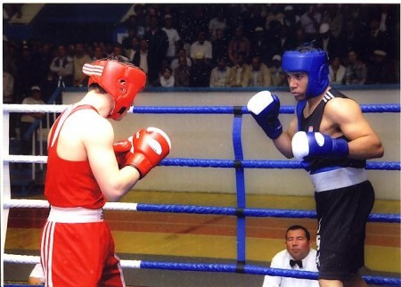 USA boxer Jeremy Fiorentino against Russian in the final