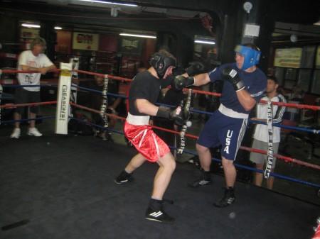 Egor Plevako and Sasha Mamoshuk in the ring