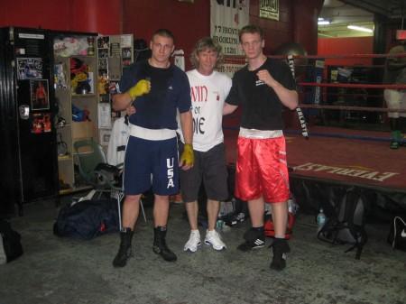 "Oleksandr ""Sasha"" Mamoshuk, boxing trainer Michael ""Coach Mike"" Kozlowski, Egor Plevako"