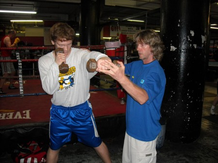 "Boxing trainer Michael ""Coach Mike"" Kozlowski conditions Egor Plevako"
