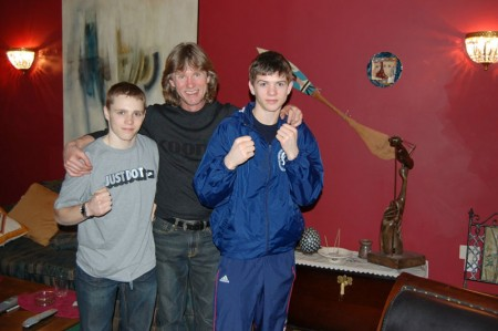 "left to right:Billy Dawson, boxing trainer Michael ""Coach Mike"" Kozlowski ,Luke Campbell"