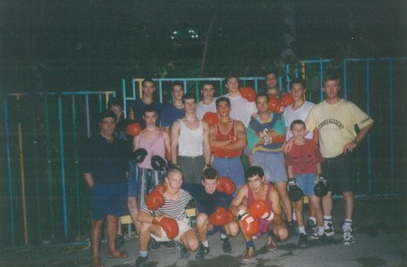 "Outdoor court of Basmat School, where boxing trainer Michael ""Coach Mike"" Kozlowski  made his champions in Israel. Yuri Foreman is sitting in the middle."