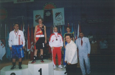 Jill Emery - first female boxer of America who won the gold in Turkey. Istanbul, 2004