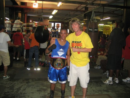 "Champion Juan Roman and his boxing trainer Michael ""Coach Mike"" Kozlowski"