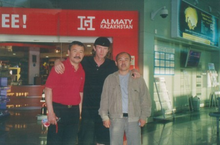 "From left to right: Tursun Edilov, Boxing trainer Michael ""Coach Mike"" Kozlowski , Karimzhan Abdrakhmanov"