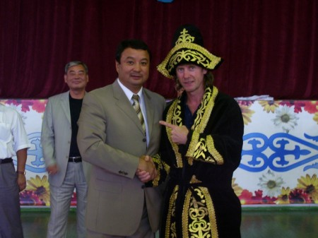 "Traditional Kazakhstan suit presented to Boxing trainer Michael ""Coach Mike"" Kozlowski by Serik Konakbaev"