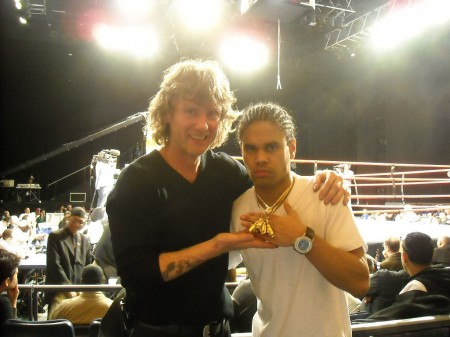 "Boxing trainer Michael ""Coach Mike"" Kozlowski  and 5 time Golden Gloves champion Shemuel Pagan after final fight"