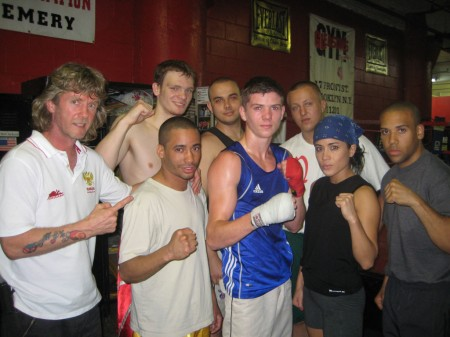 "Luke Campbell ( in the center ) with trainer Michael ""Coach Mike"" Kozlowski's students in the Gleason's GYM."
