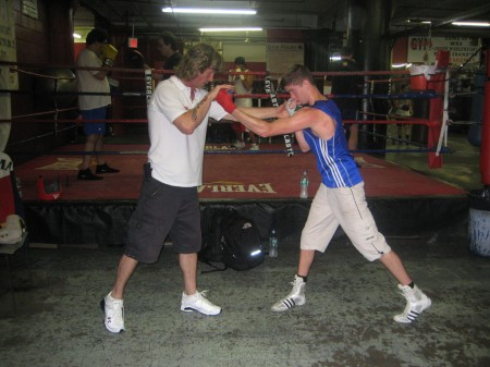 "Boxing trainer Michael ""Coach Mike"" Kozlowski and European Champion Luke Campbell."