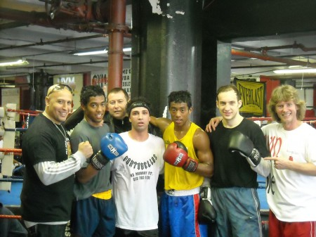 "Pauli Malignaggi with trainer Michael ""Coach Mike"" Kozlowski's team."