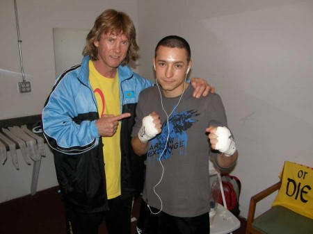 "Boxing trainer Michael ""Coach Mike"" Kozlowski  and Ruslan Khayrtdinov before the fight"