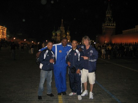 "( left to right ) Juan Roman, Travis Peterkin, Jeremy Fiorentino, boxing trainer Michael ""Coach Mike"" Kozlowski on Red Square in Moscow"