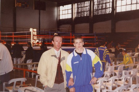 "Yuri Foreman and boxing trainer Michael ""Coach Mike"" Kozlowski at the Under-19 World Championship in Aires, Argentina."