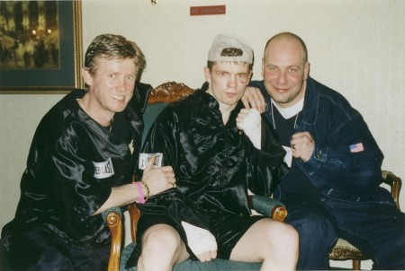 "Left to right, boxing trainer Michael ""Coach Mike"" Kozlowski , Yuri Foreman, and promoter Lou DiBella after the fight against George Armenta."