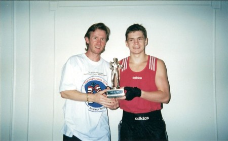 "Boxing trainer Michael ""Coach Mike"" Kozlowski and Yuri Foreman with trophy ""OUTSTANDING BOXER""! Washington DC, 2000"
