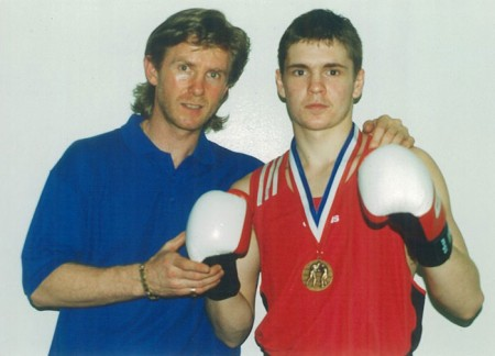 "Boxing trainer Michael ""Coach Mike"" Kozlowski and his student Yuri Foreman, bronze medalist at the USA National Golden Gloves Championships."