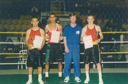 "Yuri Foreman (left of boxing trainer Michael ""Coach Mike"" Kozlowski ), Israeli National Champion, 1998."