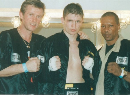"(Left to right) boxing trainer Michael ""Coach Mike"" Kozlowski, Yuri Foreman, Yoel Judah after fight against Jose Luis Almanzar"