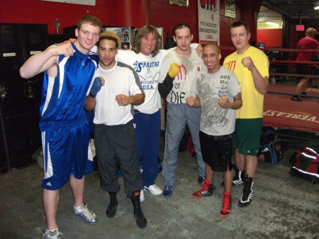 "Left to right: Yegor Plevako, Jeremy Fiorentino, boxing trainer Michael ""Coach Mike"" Kozlowski, Kamil Abdulzhanov and Kasper Czajkowski."