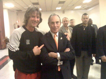 "Boxing trainer Michael ""Coach Mike"" Kozlowski with the mayor of New York Michael Bloomberg"