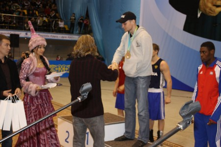 "USA boxing trainer Michael ""Coach Mike"" Kozlowski on the medal ceremony."