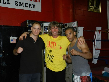 "Former Russian student, Yury Belskiy, and current American student Jeremy Fiorentino with their trainer Michael ""Coach Mike"" Kozlowski in New York City."