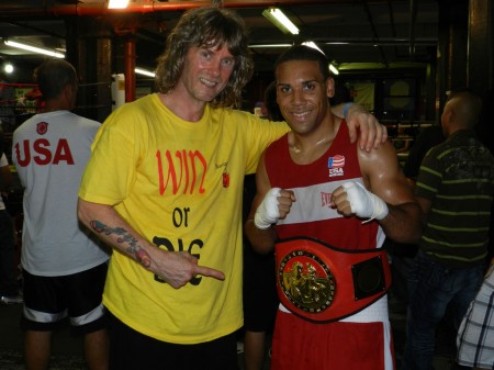 "Trainer Michael ""Coach Mike"" Kozlowski and his champion, Jeremy Fiorentino."
