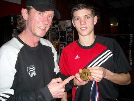 "Boxing trainer Michael ""Coach Mike"" Kozlowski with Luke Campbell."