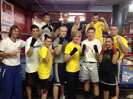 Former Professional WORLD CHAMPION Jill Emery (standing in the center) join International(USA,ARMENIA, CHINA, UKRAINE, CHILE, RUSSIA, POLAND) Coach Mike BOXING CLASS.